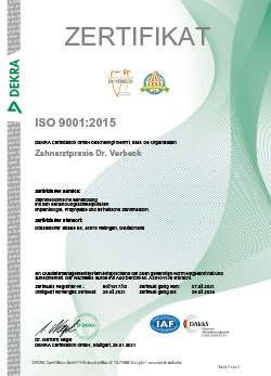 DEKRA Zertifikat ISO 9001:2015
